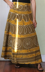 100% Cotton Wrap Skirt ! Batik Print ! One Size Fits Most !