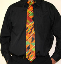 Load image into Gallery viewer, Men's African Tie! Kente Cloth, You can order Tie Cap and handkerchief.