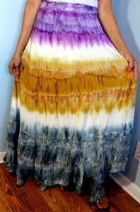 100% Fine Rayon Wrap Skirt ! Tie-Dye Print ! One Size Fits Most !