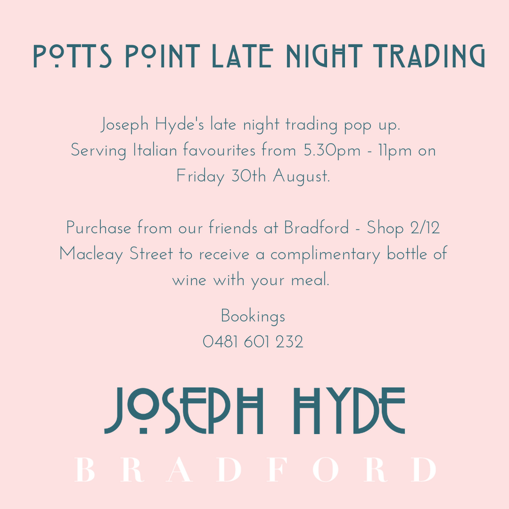Friday 30th August | Joseph Hyde x Bradford Pop-Up Dinner