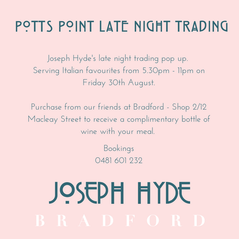 Joseph Hyde Bradford Pop-Up Dinner Potts Point Friday 31st August 2019