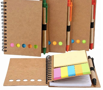 Spiral Notebook with Pen and Sticky Notes