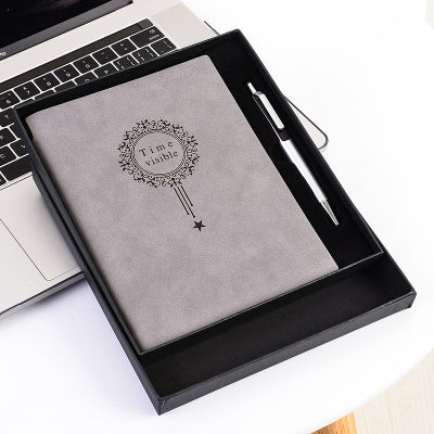 Free Make logo A5 Notebook Name Custom Leather Writing Pads Binder Black Diary Office School Supply Leader Gift with Pen Box