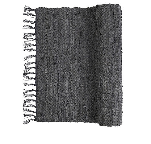 Nor, Large Grey Woven Leather Rug, Broste, 71177377
