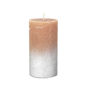 Rustic Tan and Silver Pillar Candle 60 Hour, Broste, 45800229