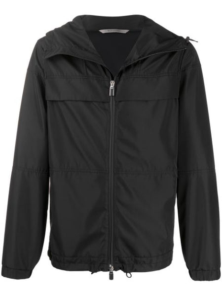 Canali Black Hooded Panelled Jacket