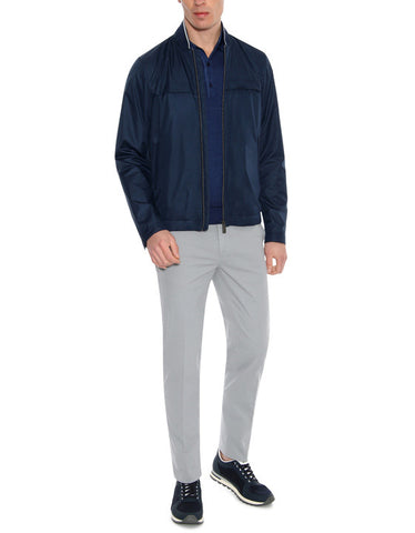 Canali Navy Bomber Jacket with Knitted Details