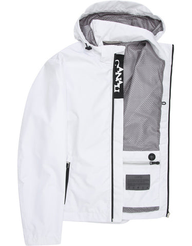 Canali White Leaf Tec Jacket with Detachable Hood