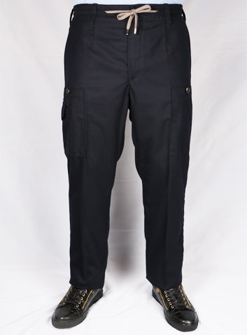 Cortigiani Black Drawstring Chinos