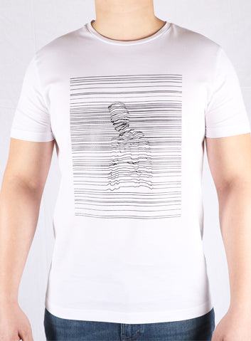 JM White Printed Cotton T-Shirt