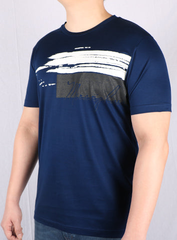 JM Navy Cotton Printed T-Shirt