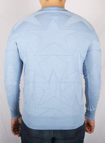 Cortigiani Sky Blue Star Patterned Knitted Sweater