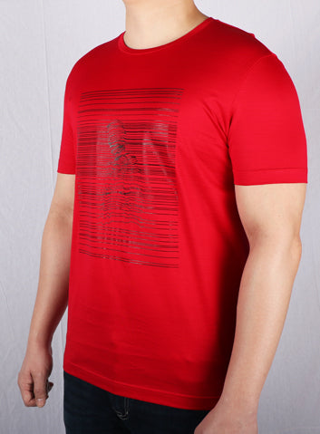 JM Red Cotton Printed T-Shirt