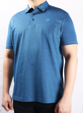 Canali Blue 3 Button Collar Polo