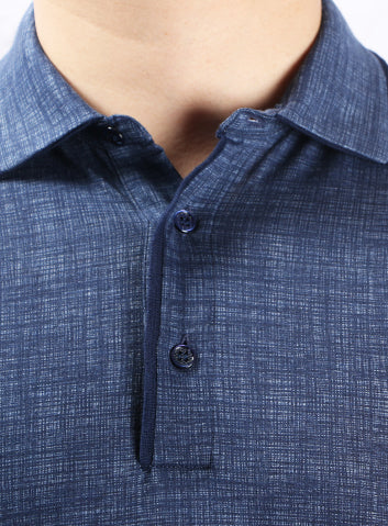 Canali Blue Printed 3 Button Collar Polo
