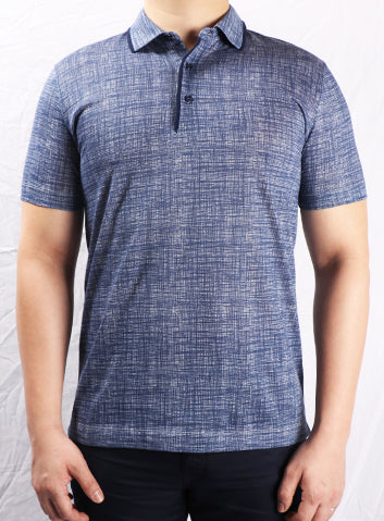 Canali Ash Blue Printed 3 Button Collar Polo