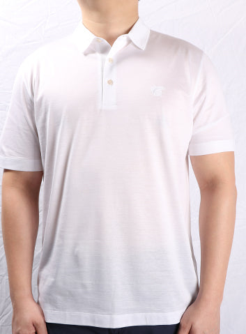 Canali White 3 Button Collar Polo