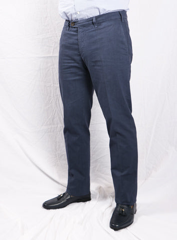 Canali Plain Blue Regular Fit Casual Trouser