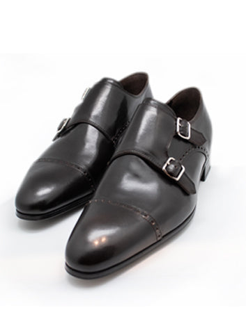 Artioli Brown Calf Leather Double Monk Shoes