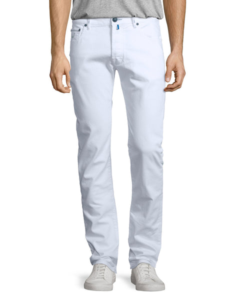 Canali White Tapered Trousers