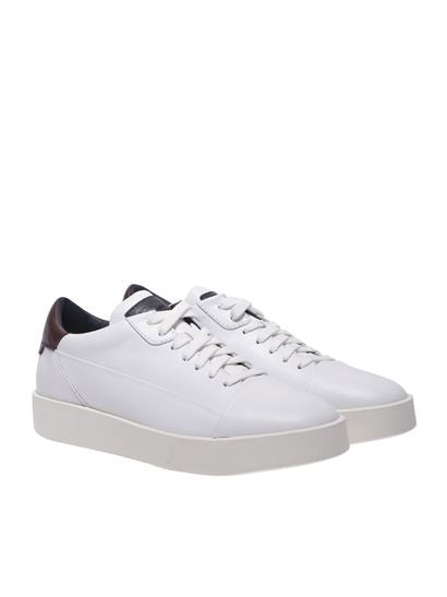 Santoni White Low-Top Sneakers with Logo