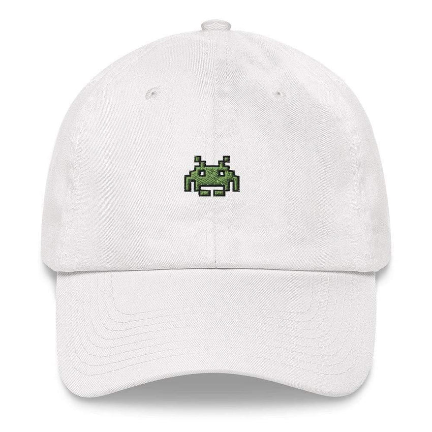 dadrack Dad Hat white dad hat - space invaders