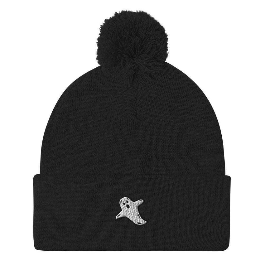 dadrack Pom Pom Knit Black Pom Pom Knit Beanie - A Friendly Ghost