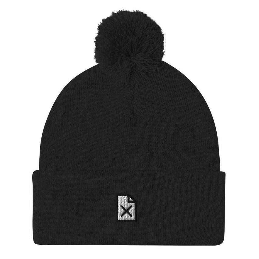 dadrack Pom Pom Knit Black Pom Pom Knit Beanie - File Not Found