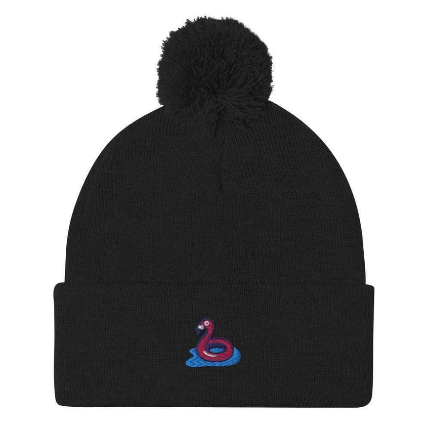 dadrack Pom Pom Knit Black Pom Pom Knit Beanie - Flamingo Floaty