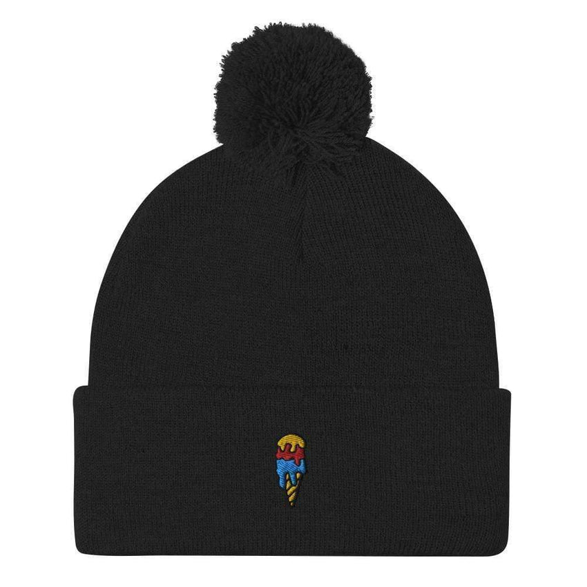 dadrack Pom Pom Knit Black Pom Pom Knit Beanie - Ice Cream Cone
