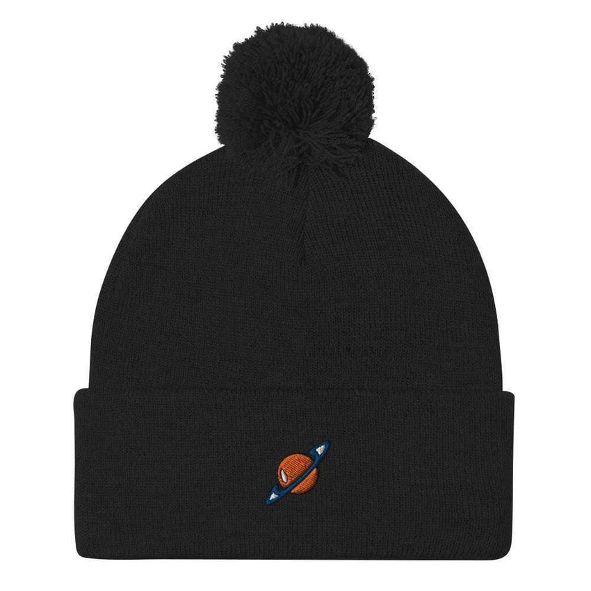 dadrack Pom Pom Knit Black Pom Pom Knit Beanie - Saturn Squad