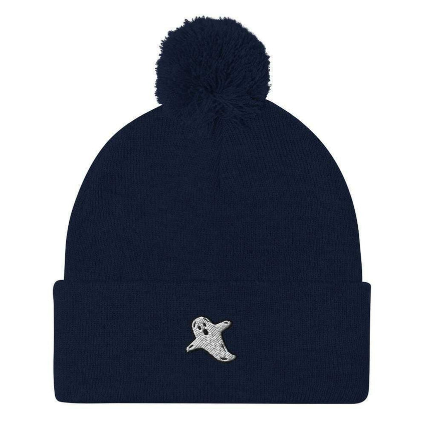 dadrack Pom Pom Knit Navy Pom Pom Knit Beanie - A Friendly Ghost