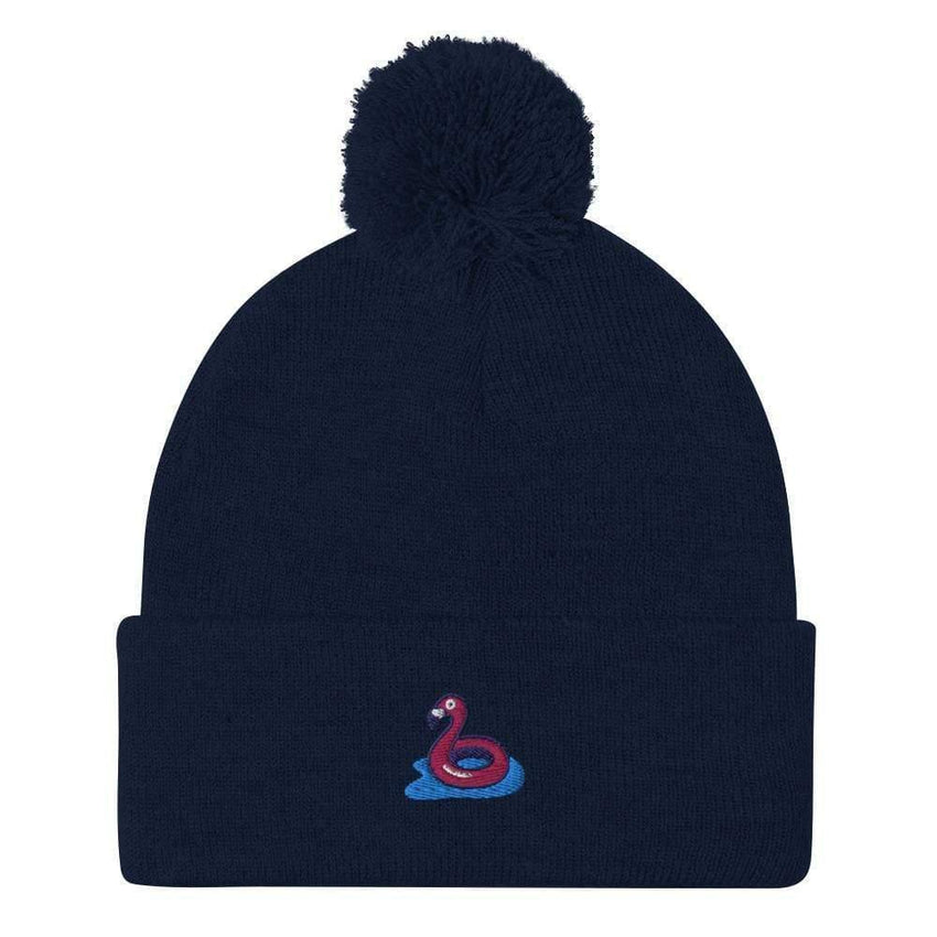 dadrack Pom Pom Knit Navy Pom Pom Knit Beanie - Flamingo Floaty