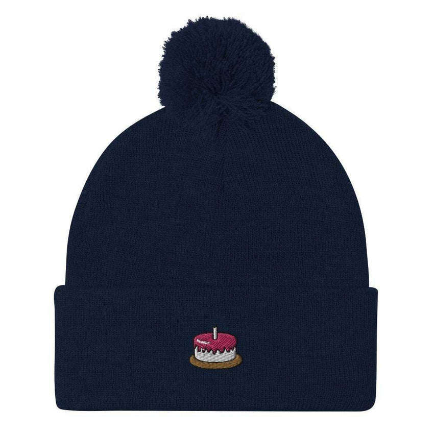 dadrack Pom Pom Knit navy the cake is a lie pom pom beanie