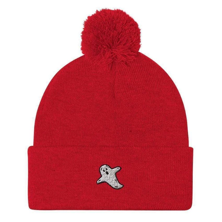 dadrack Pom Pom Knit Red Pom Pom Knit Beanie - A Friendly Ghost