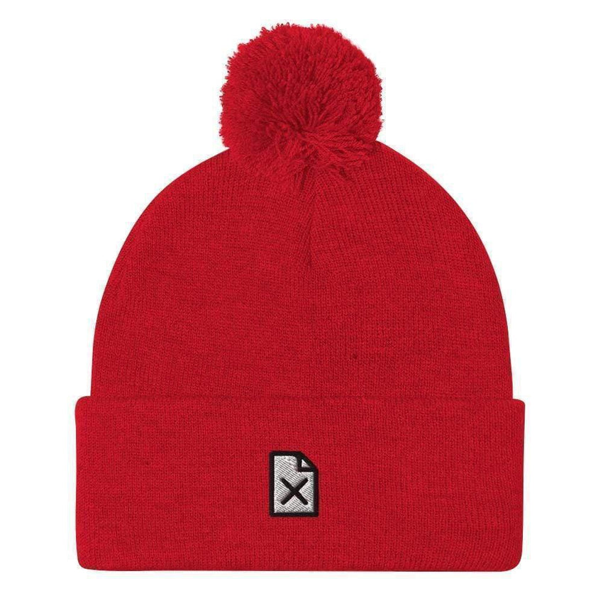 dadrack Pom Pom Knit Red Pom Pom Knit Beanie - File Not Found