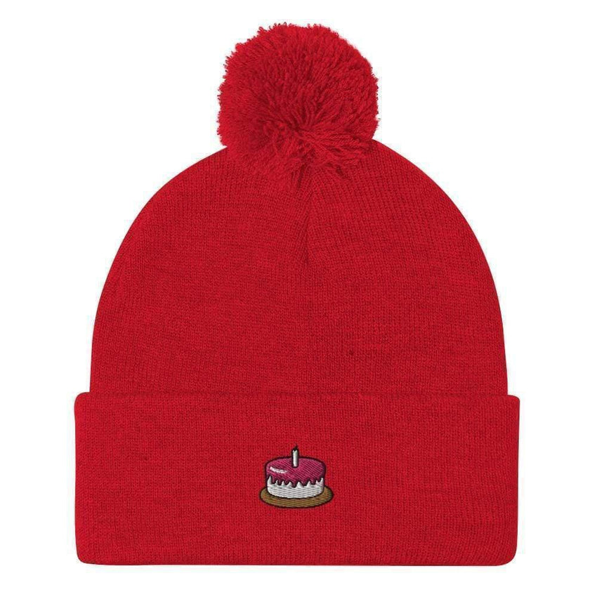 dadrack Pom Pom Knit Red Pom Pom Knit Beanie - The Cake Is A Lie