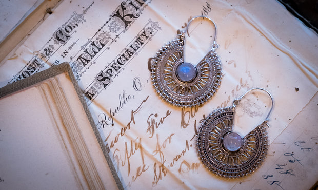 Winter Storm Moonstone Earrings