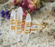 Crystal Quartz Cuff (Gold or Silver)