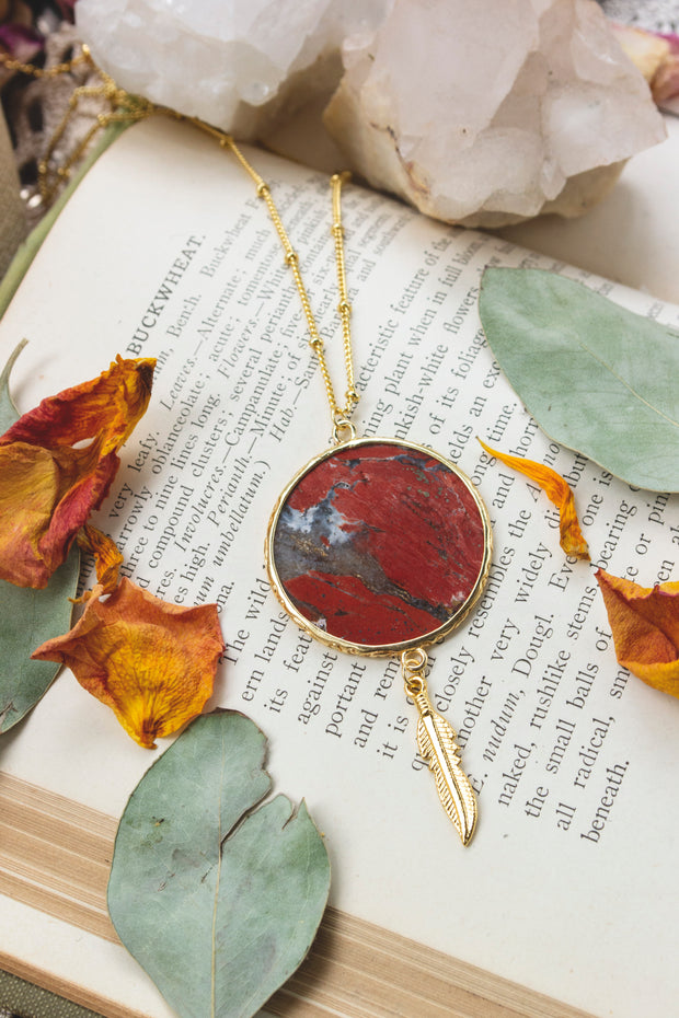 Red Sun & Feather Necklace