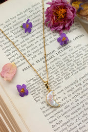 Mother of Pearl Crescent Moon Necklace