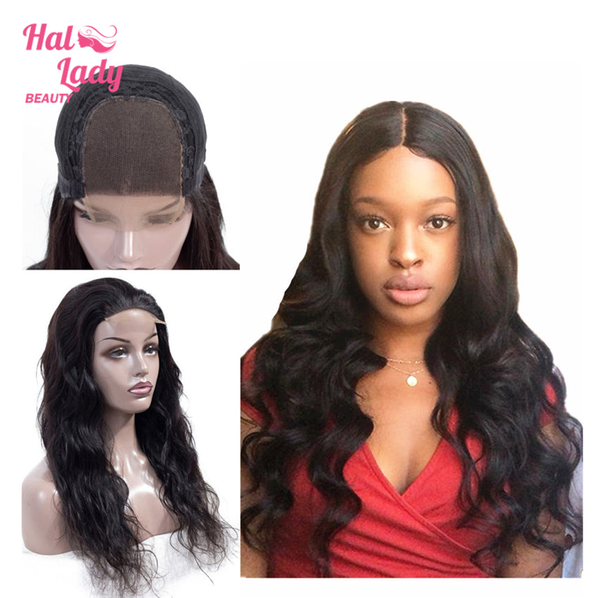 Lace Front Human Hair Wigs Pre Plucked Brazilian Virgin Body Wave Lace Front Hair Wig 150% Density - Halo Lady Hair