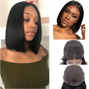 Halo Lady Hair Short Bob Cut Human Lace Front Wigs Brazilian Straight 4x4 Lace Bob Wig For Women - Halo Lady Hair