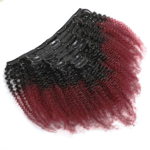 Halo Lady 8Pcs Set Thick Afro Kinky Curly Clip ins Hairpiece Hair Extensions Red 1b 99j Ombre Brazilian Remy Full Clips Ins Hair