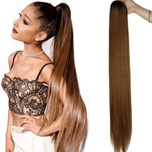 Load image into Gallery viewer, Halo Lady Beauty 1B 27 Straight Drawstring Ponytail Human Hair Two Tone Ombre Color # 27 #2 #4 Brazilian Hair Extensions Non-Remy