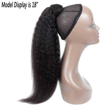 Load image into Gallery viewer, Wrap Around Ponytail Clips in Pony Tail Extensions Indian Human Hair Remy Yaki Hair For African American Women