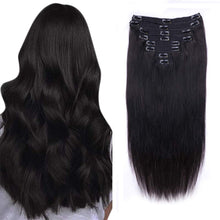 Load image into Gallery viewer, Halo Lady Beauty Full Clip ins Straight Hair Pieces Brazilian Remy Hair Extensions 8 PCS Set Thick Hairpiece 120g 8 Pieces Lot