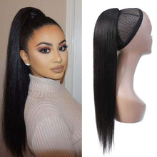 Load image into Gallery viewer, Halo Lady Beauty 1B Bug Straight Drawstring Ponytail Human Hair Two Tone Ombre Color Burgundy Brazilian Hair Extensions Non-Remy