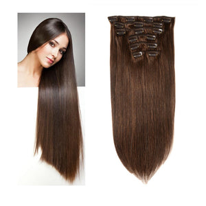 Halo Lady Beauty Full Clip ins Straight Hair Pieces Brazilian Remy Hair Extensions 8 PCS Set Thick Hairpiece 120g 8 Pieces Lot