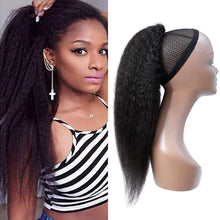 Load image into Gallery viewer, Halo Lady Beauty Drawstring Afro Kinky Curly Ponytail Human Hair Non-Remy Indian Hair Extensions Pony Tail For African American